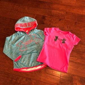 Girls UnderArmour hoodie and shirt.  size youth xs